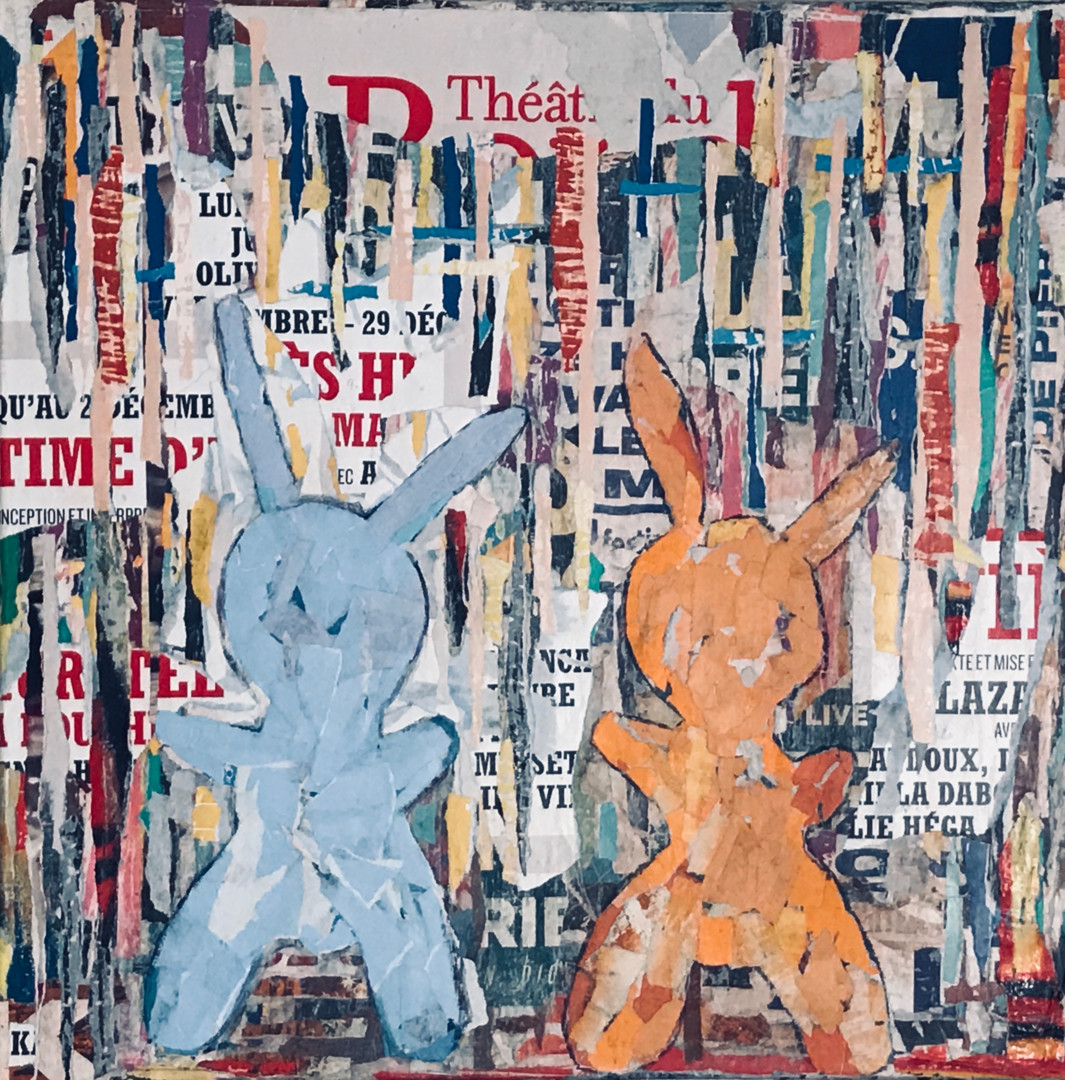 Dominique Kerkhove (Dom (k) Collages) - 2 Rabbits in the City - 2 -